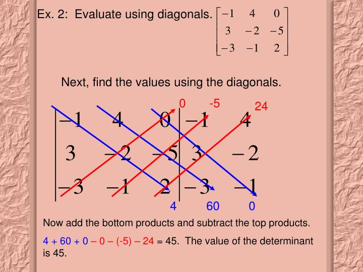 Next, find the values using the diagonals.