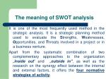 the meaning of swot analysis