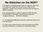 no selection on the nod