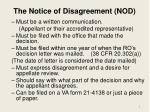 the notice of disagreement nod