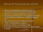 abuse of humanitarian efforts