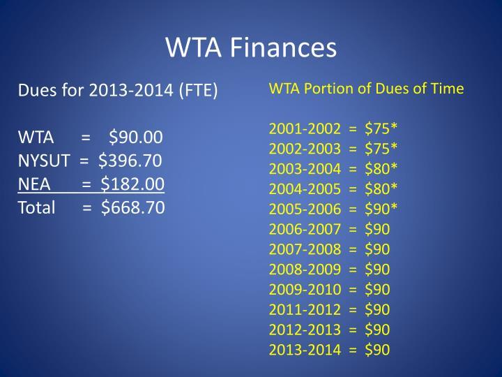 WTA Finances