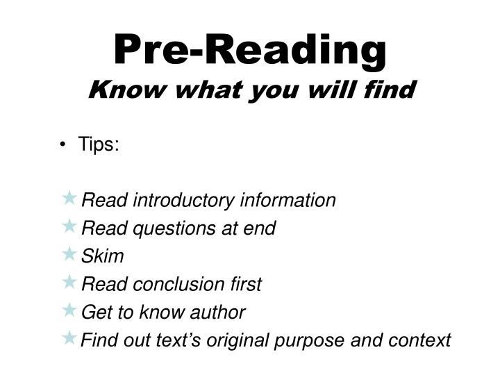Pre reading know what you will find