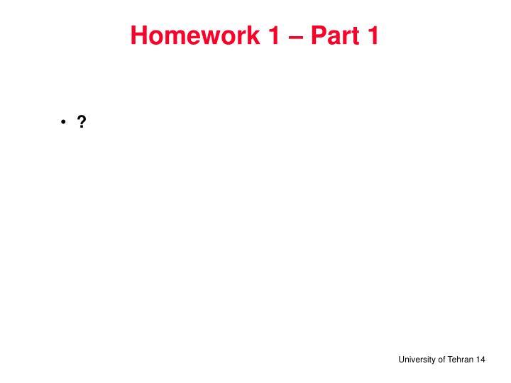 Homework 1 – Part 1