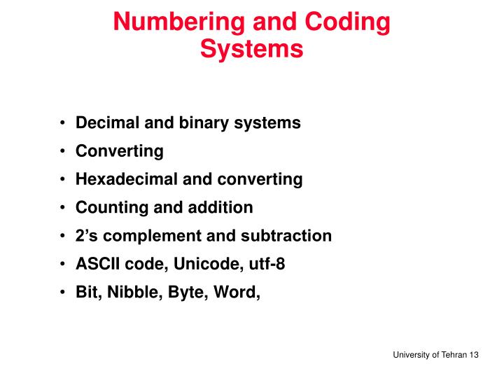 Numbering and Coding Systems