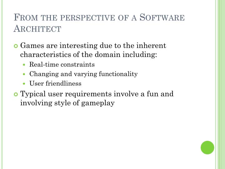 From the perspective of a Software Architect