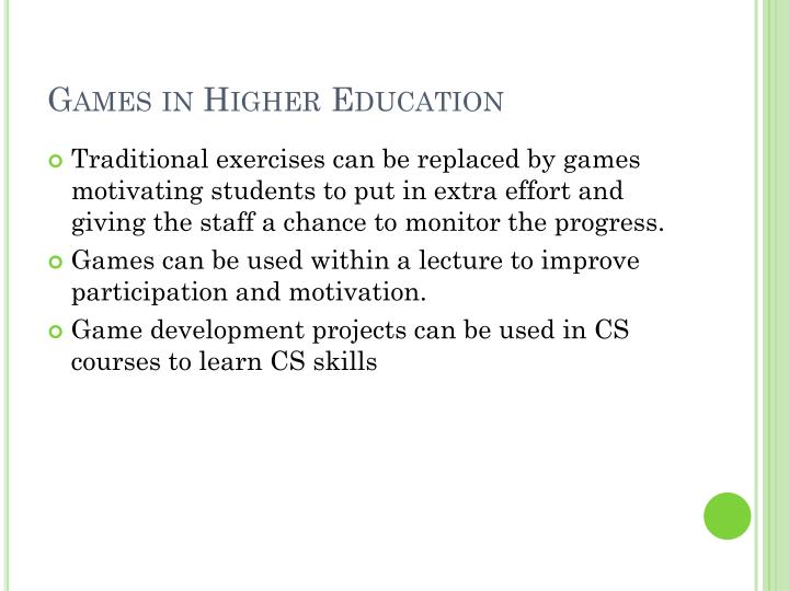 Games in higher education
