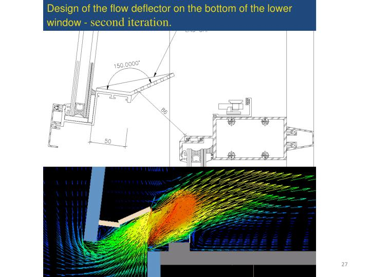 Design of the flow deflector on the bottom of the lower window -