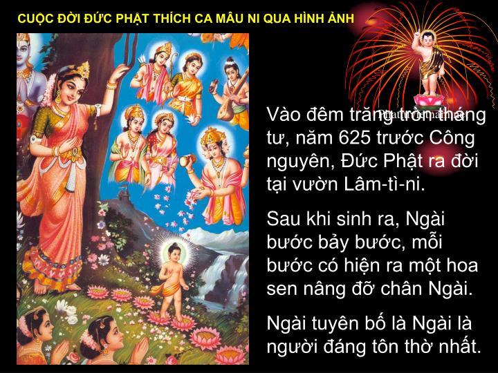 Vào đêm trăng tròn tháng tư, năm 625 trước Công nguyên, Đức Phật ra đời tại vườn Lâm-tì-ni.