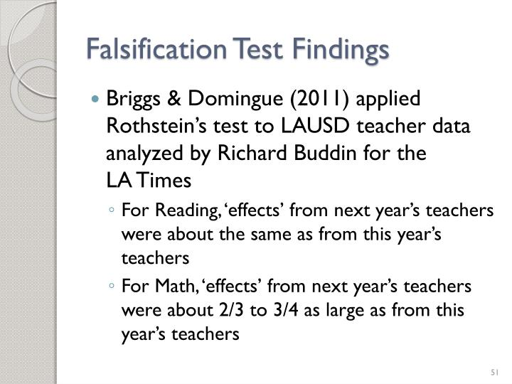 Falsification Test Findings