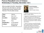 frances hesselbein live on campus wednesday thursday november 4 5