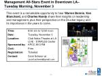 management all stars event in downtown la tuesday morning november 3