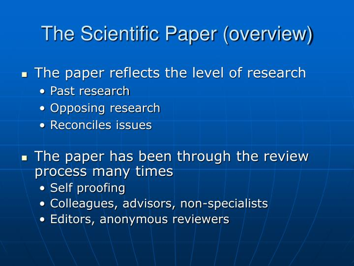 The scientific paper overview1