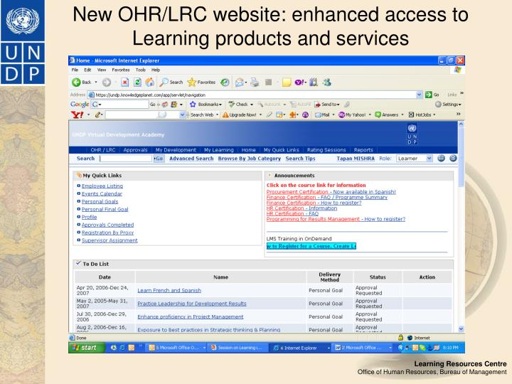 New OHR/LRC website: enhanced access to Learning products and services