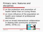 primary care features and disciplines1