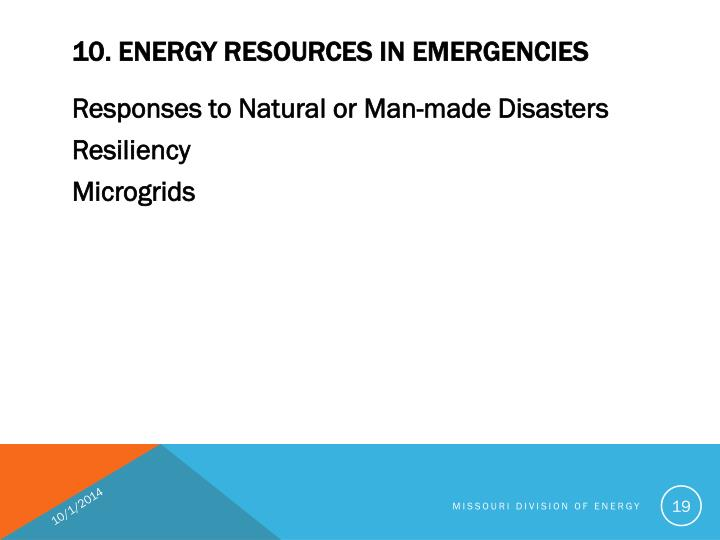 10. ENERGY RESOURCES IN EMERGENCIES