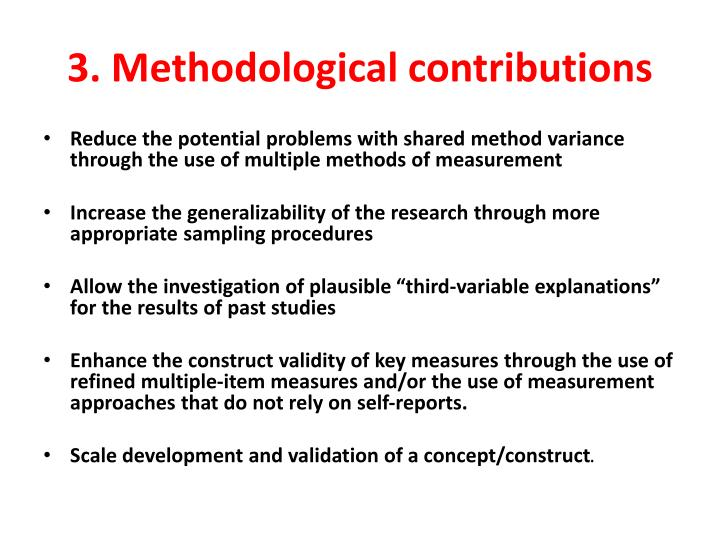 3. Methodological contributions