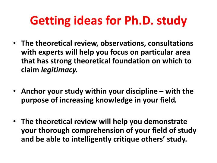 Getting ideas for Ph.D. study