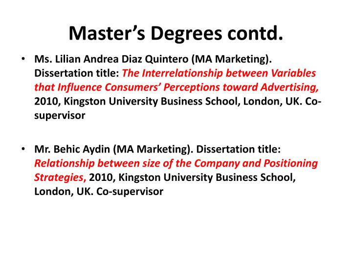 Master's Degrees contd.