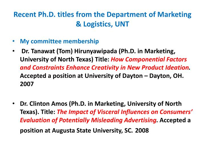 Recent Ph.D. titles from the Department of Marketing & Logistics, UNT