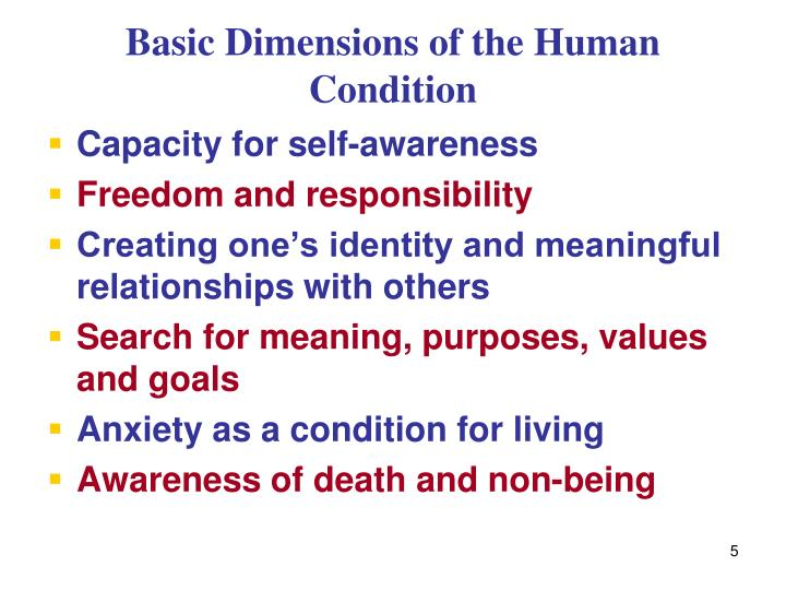 Basic Dimensions of the Human Condition