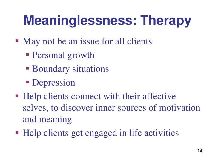 Meaninglessness: Therapy