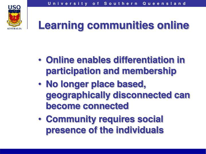 Learning communities online