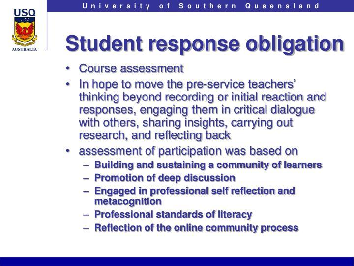 Student response obligation