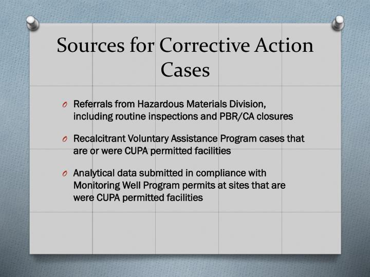 Sources for Corrective Action Cases