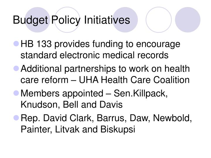 Budget Policy Initiatives