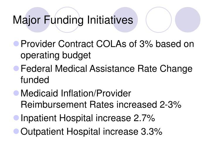 Major Funding Initiatives