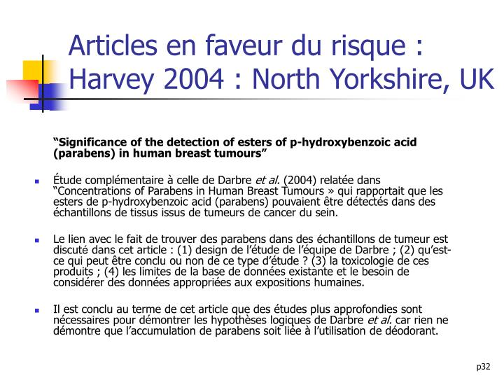 Articles en faveur du risque : Harvey 2004 : North Yorkshire, UK