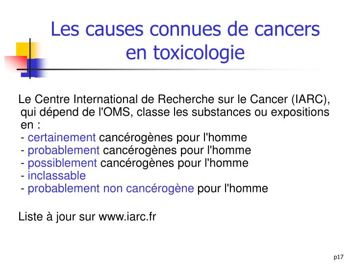 Les causes connues de cancers