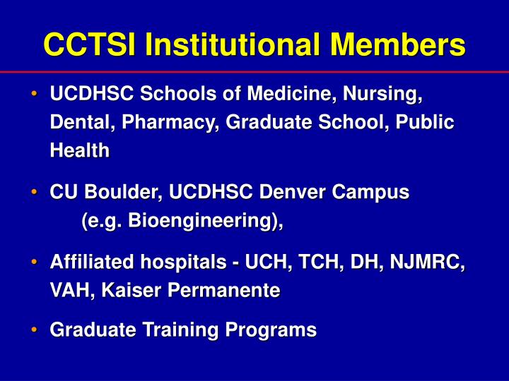 CCTSI Institutional Members