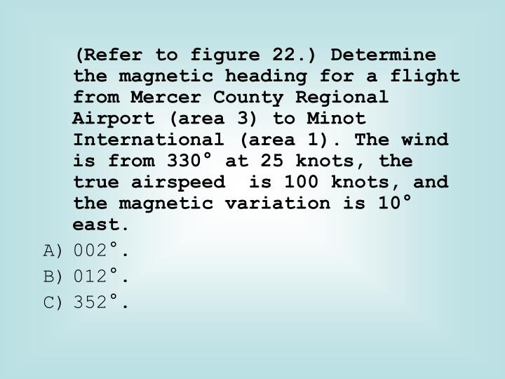 (Refer to figure 22.) Determine the magnetic heading for a flight from Mercer County Regional  Airport (area 3) to Minot International (area 1). The wind is from 330° at 25 knots, the true airspeed  is 100 knots, and the magnetic variation is 10° east.