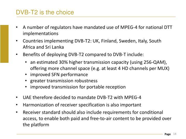 DVB-T2 is the choice