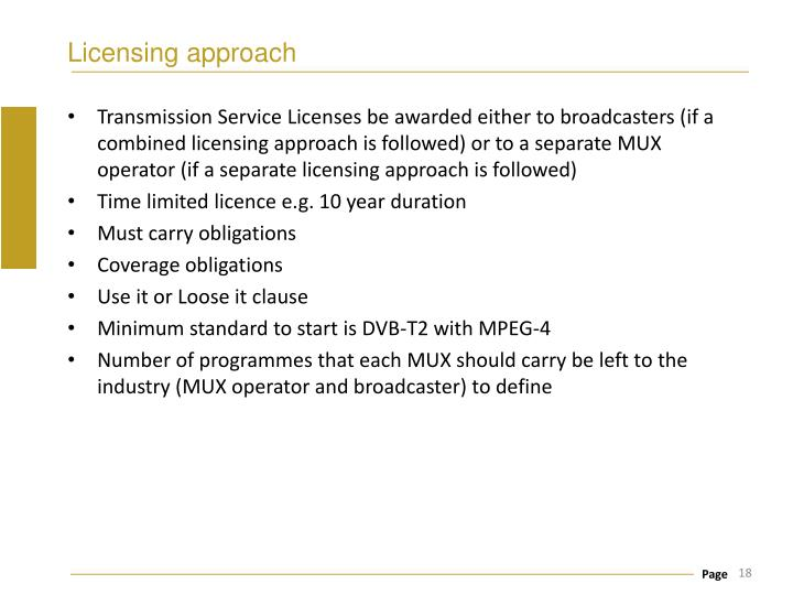 Licensing approach