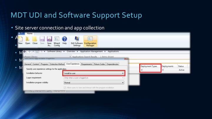 MDT UDI and Software Support Setup