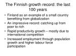 the finnish growth record the last 100 years