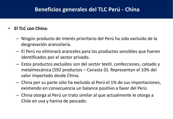 El TLC con China