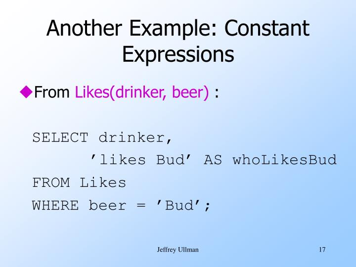 Another Example: Constant Expressions