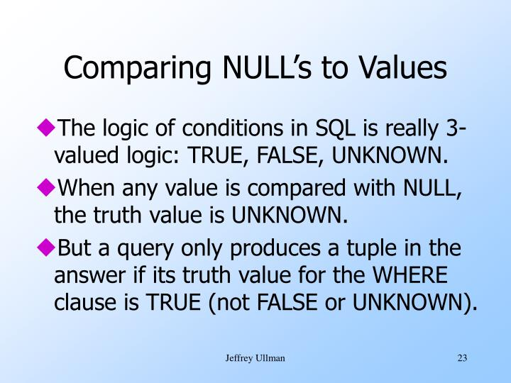 Comparing NULL's to Values