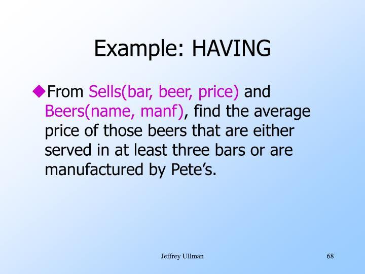 Example: HAVING