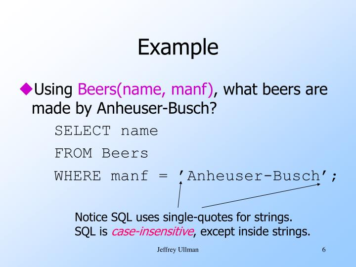 Notice SQL uses single-quotes for strings.