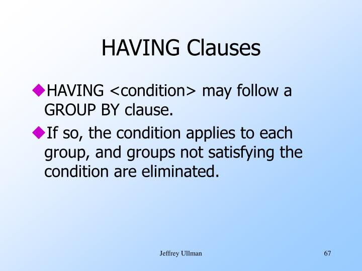 HAVING Clauses