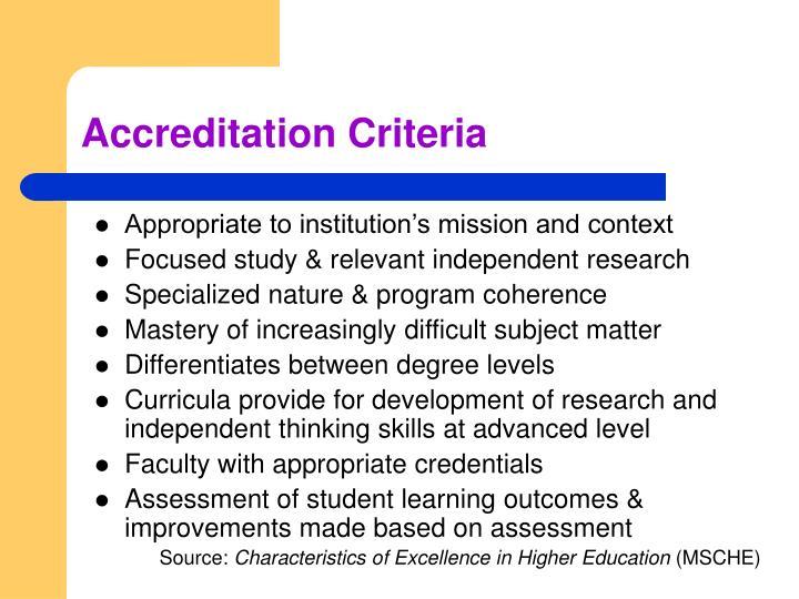 Accreditation Criteria
