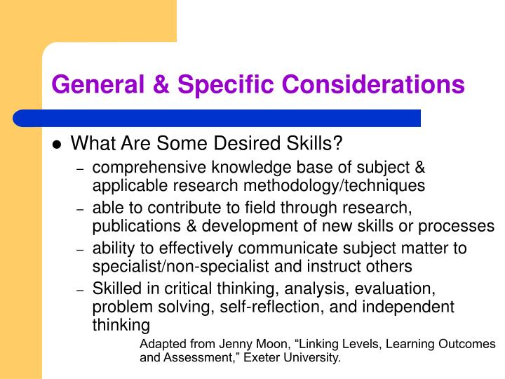 General & Specific Considerations