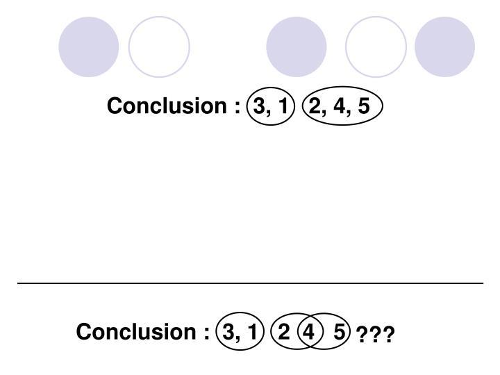 Conclusion :  3, 1   2  4   5