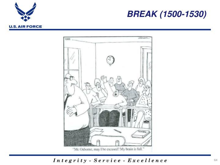 BREAK (1500-1530)