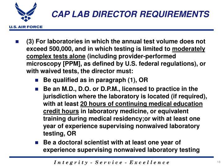 CAP LAB DIRECTOR REQUIREMENTS